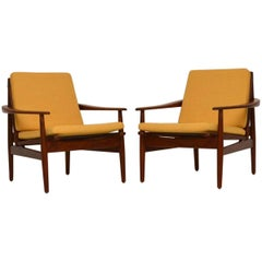 1960s Pair of Danish Teak Armchairs by Grete Jalk for Glostrup