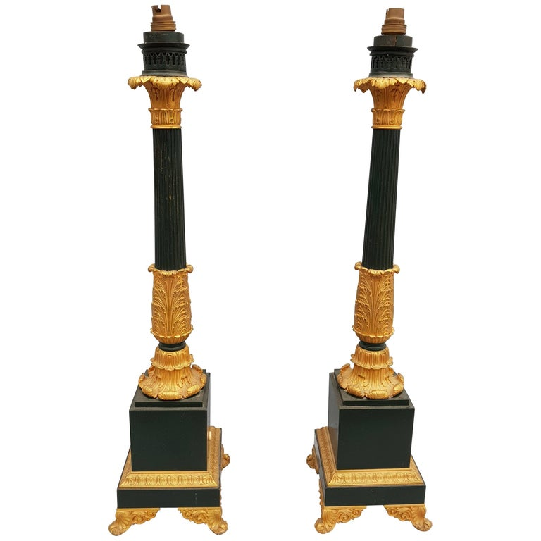Pair of 19th Century Neoclassical Carcel Lamps