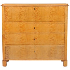 Biedermeier Birch Secretaire Chest of Drawers