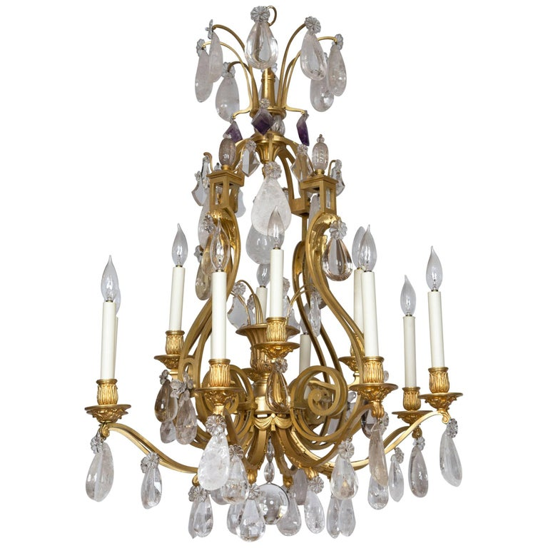 French Rock Crystal and Gilt Bronze Twelve-Light Chandelier For Sale
