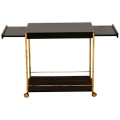 1970s French Brass and Formica Vintage Drinks Trolley