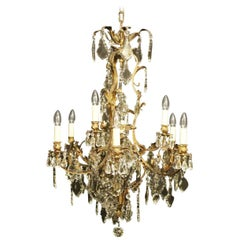 French, 19th Century Gilded Bronze and Crystal Nine-Light Antique Chandelier