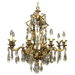French Gilded Bronze and Crystal Eight-Light Antique Chandelier