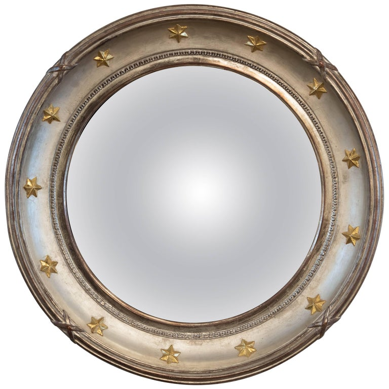 Vintage Hollywood Regency Style Convex Mirror For Sale