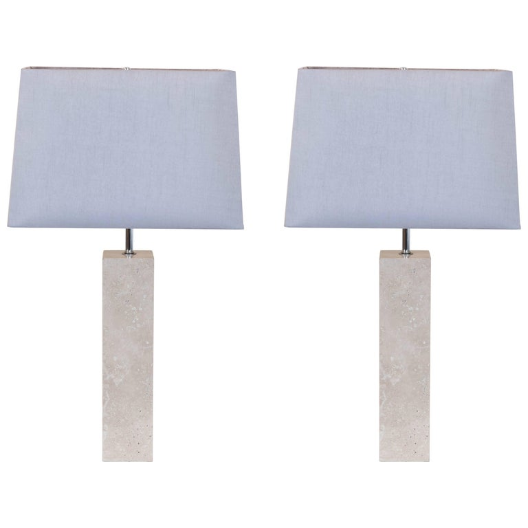 Pair of Vintage Travertine Table Lamps 1