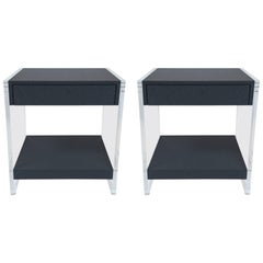 Custom Acrylic and Faux Shagreen Wrapped End Tables