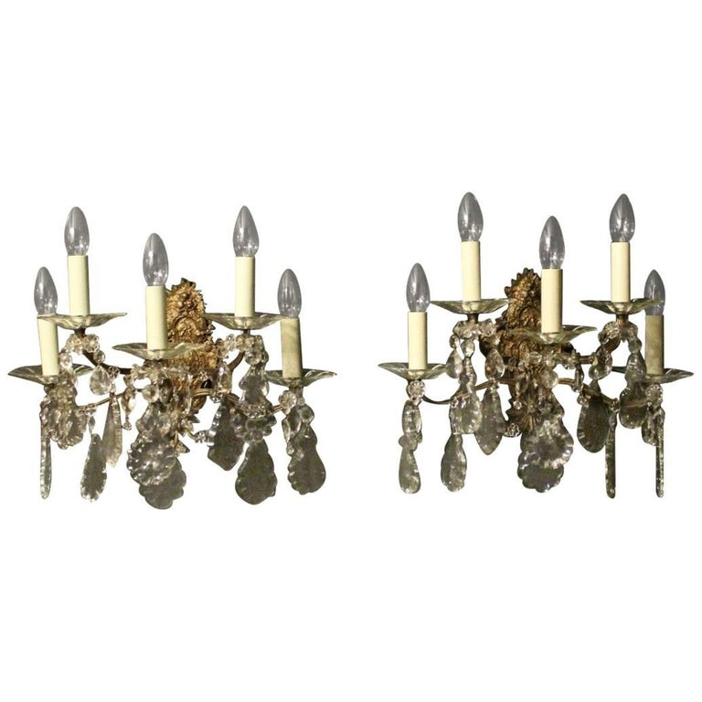 French Pair of Gilded Bronze and Crystal Five-Arm Antique Wall Lights For Sale
