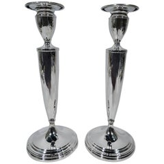 Pair of American Modern Sterling Silver Candlesticks by Gorham