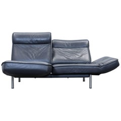 De Sede DS 450 Designer Leather Sofa Black Relax Function Two-Seat Modern