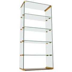 1970s Vintage Italian Glass and Brass Bookcase or Display Cabinet