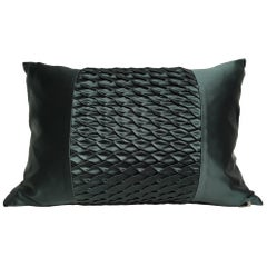 Silk Satin Cushion Pleated Centre Stripe Detail Color Dark Emerald Green