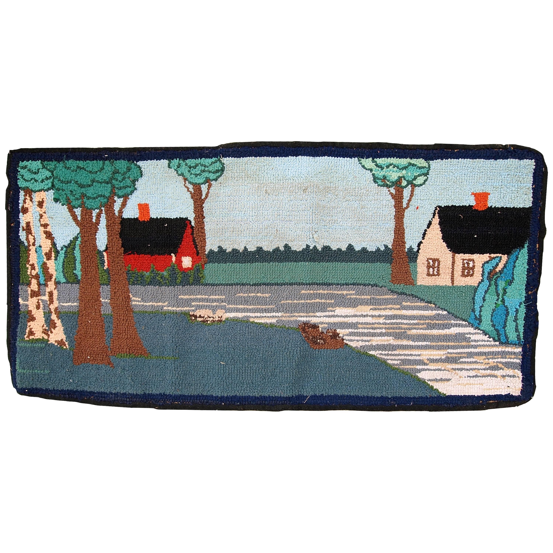 Handmade Vintage American Hooked Rug, 1960s, 1C412