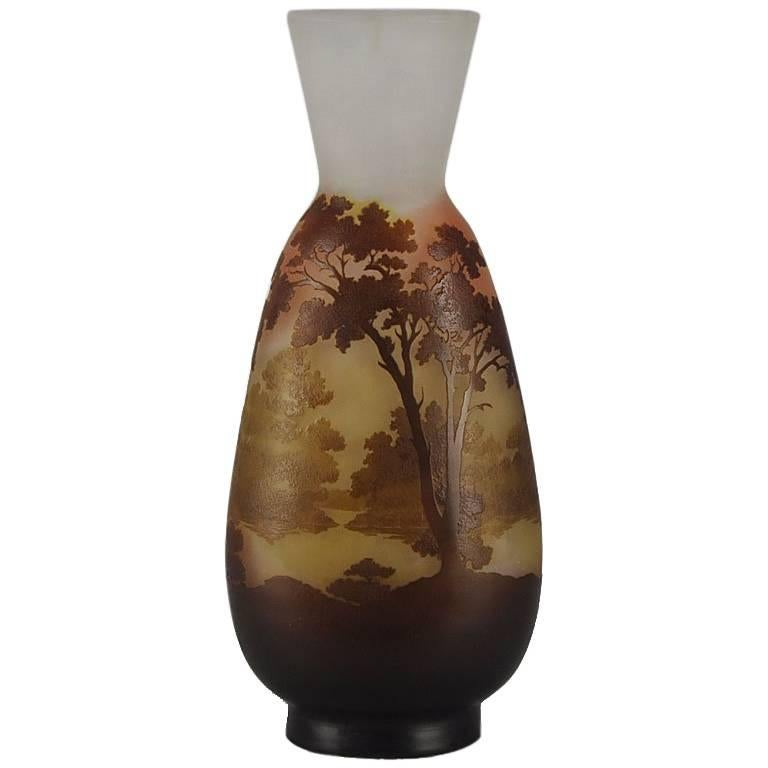 Emile Gallé Landscape Vase