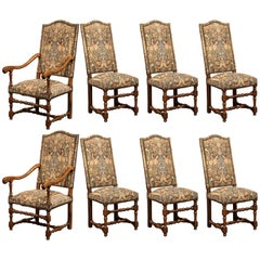 French Set of Six Side Chairs and Two Armchairs with Tapestry Louis XIII Style
