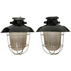 1920s Matching Pair of Industrial, Black Enamel Caged Light Pendant / Fixture
