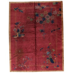 Handmade Antique Art Deco Chinese Rug, 1920s