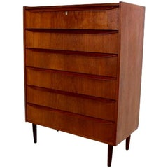 Scandinavian Modern Six Drawers Tallboy Made in Teak in the 1960s