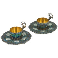 Antique Austrian Solid Silver Gilt, Enamel Cups and Saucers, circa 1890