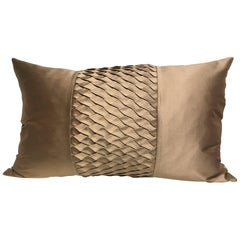 Silk Cushion Pleated Centre Stripe Detail Color Platinum