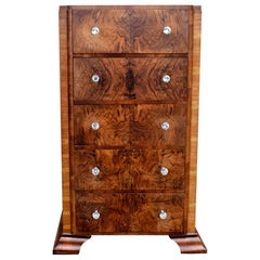 English Art Deco 1930s Walnut Chest of Five Drawers