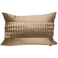 Silk Cushion Pleated Horizontal Stripe Detail Colour Pure Platinum
