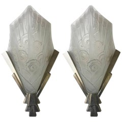 Pair of French Art Deco Floral Wall Sconces by J Robert