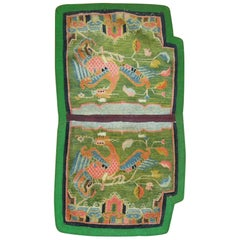 Tibetan Textile Rug in Bright Apple Green