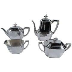 Tiffany Hampton Sterling Silver Coffee and Tea Set in Classic Hampton Pattern