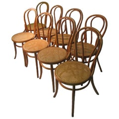 Twenty 19th Century Bent Wood Cafe Dining Chairs with Caned Seats