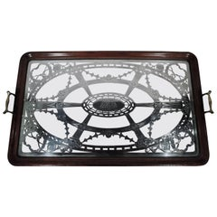 Rare Antique American Edwardian Serving Tray with Silver Overlay