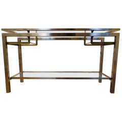 Guy Lefevre France, 1970 Stainless Steel Console with Double Tops