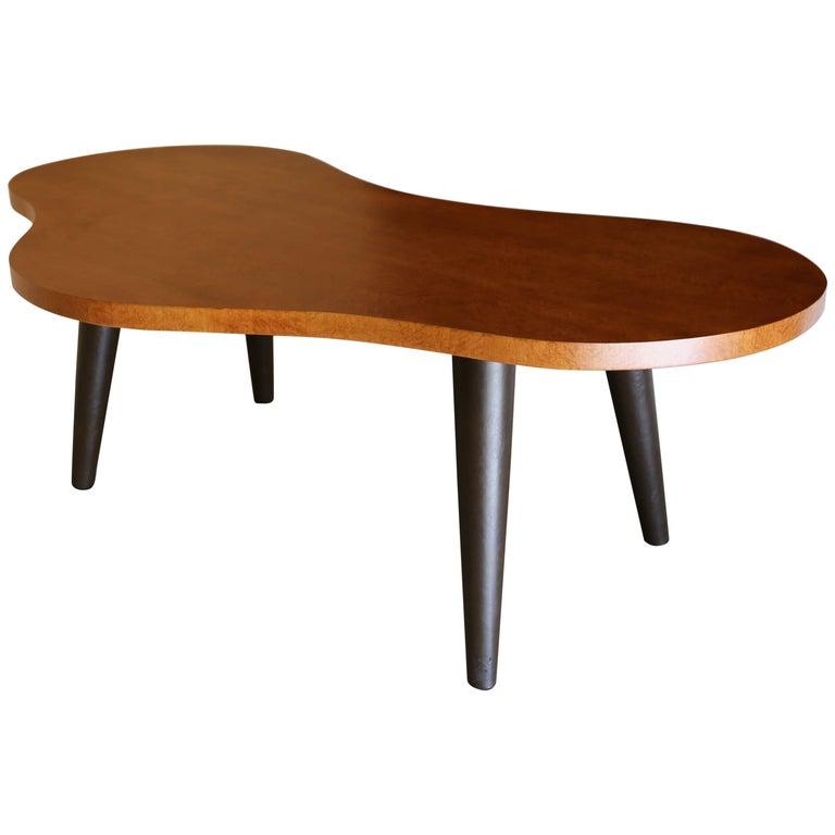 Bird's-Eye Maple and Leather Biomorphic Desk
