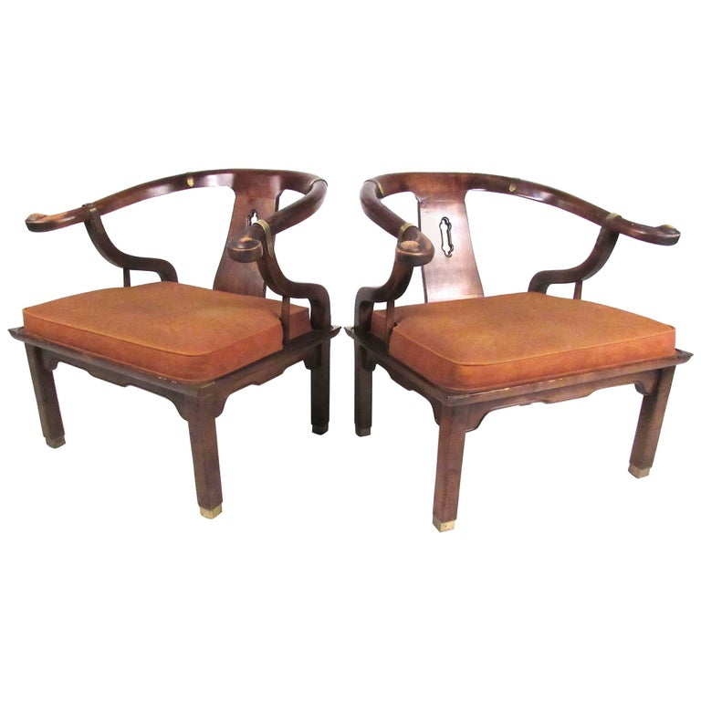 Pair of Chinoiserie Style Lounge Chairs by Century Chair Company
