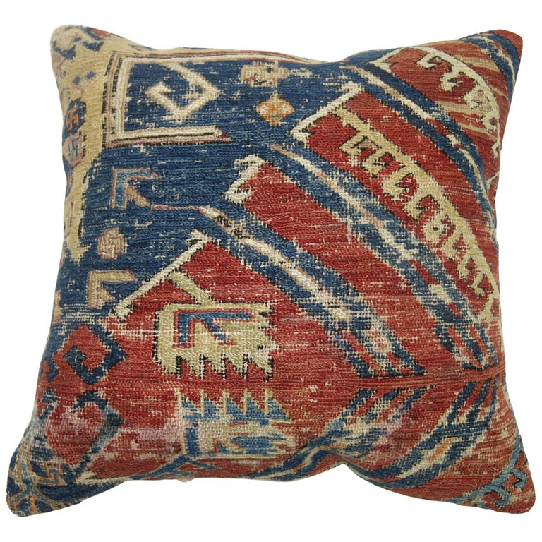 Antique Tribal Rug Pillow For Sale