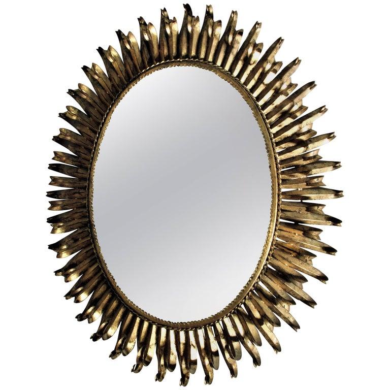 Large Gilt Metal Eyelash Mirror