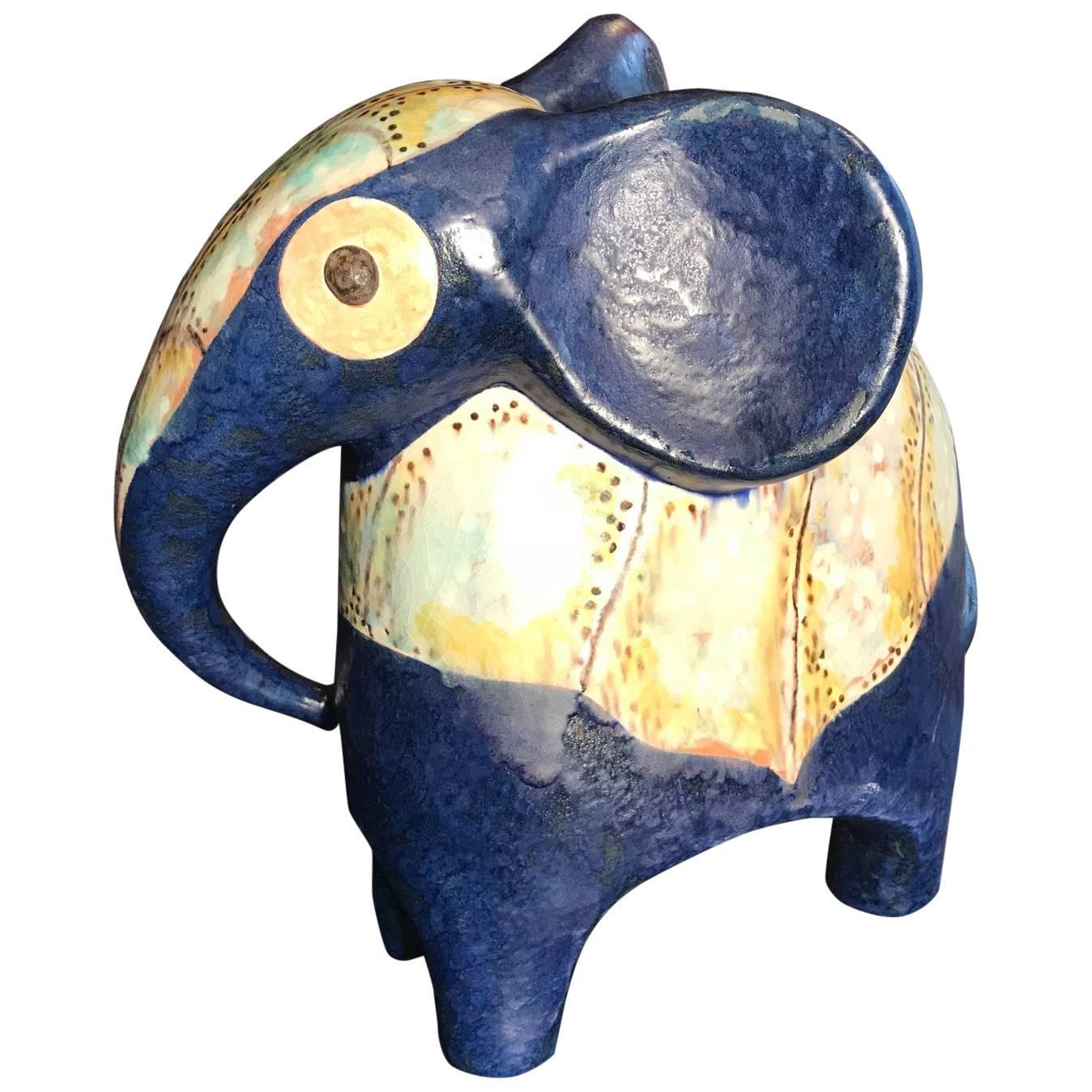 Stunning Handmade Hand-Painted Elephant, Master Artisan Eva Fritz-Lindner