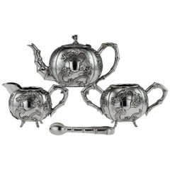 20th Century Chinese Export Solid Silver Dragon Tea Set Cheong Shing, circa 1910
