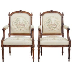 Pair of French 19th Century Rosewood Armchairs