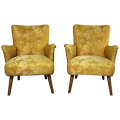 Art Deco or Art Moderne Pair of Armchairs in Original Gold Brocade