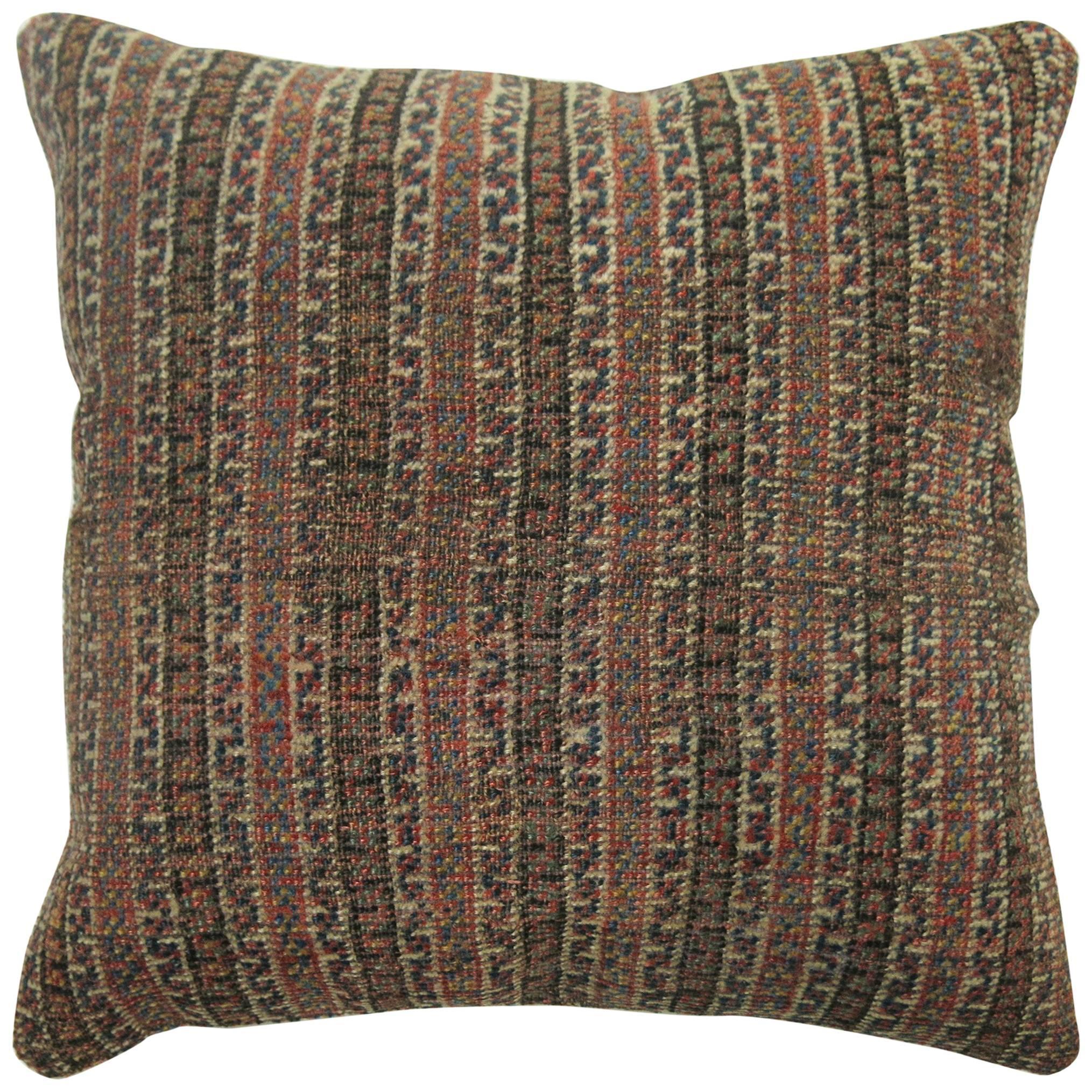 Persian Striped Tribal Rug Pillow