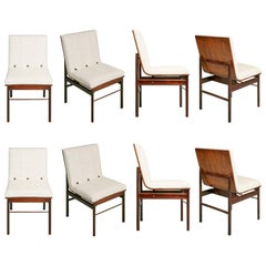 Brazilian Jacaranda and Linen Dining Chairs by Novo Rumo, Set of Eight