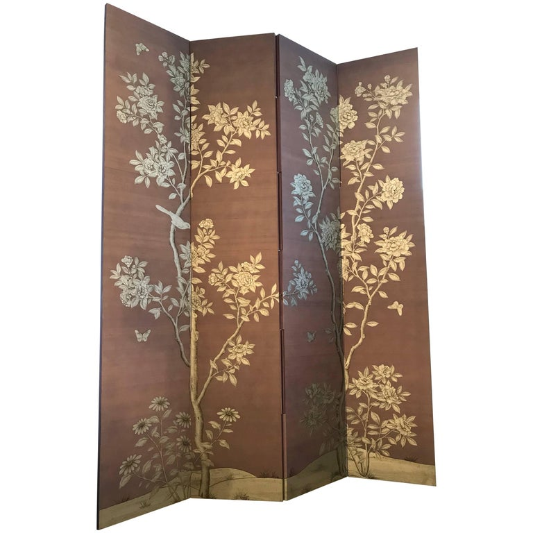 Gracie Silk Hand-Painted Screen with Silver Design For Sale