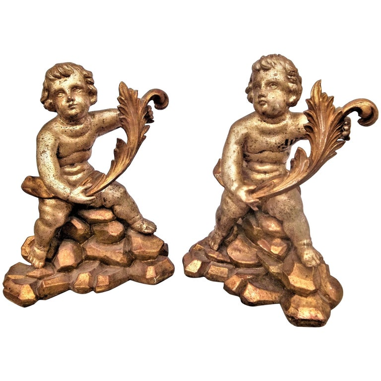 Tall Pair of Baroque Style Carved Cherub Giltwood Fragments