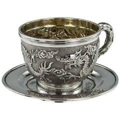 Antique Chinese Export Solid Silver Cased Cup and Saucer Tuck Chang, circa 1890