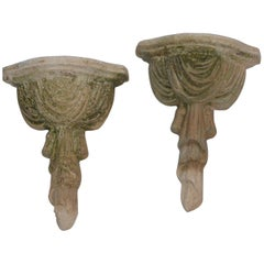 Terracotta Draped Mexican Sconces Pair, Vintage
