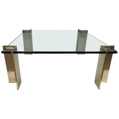 Heavy Bronze and Glass Coffee Table