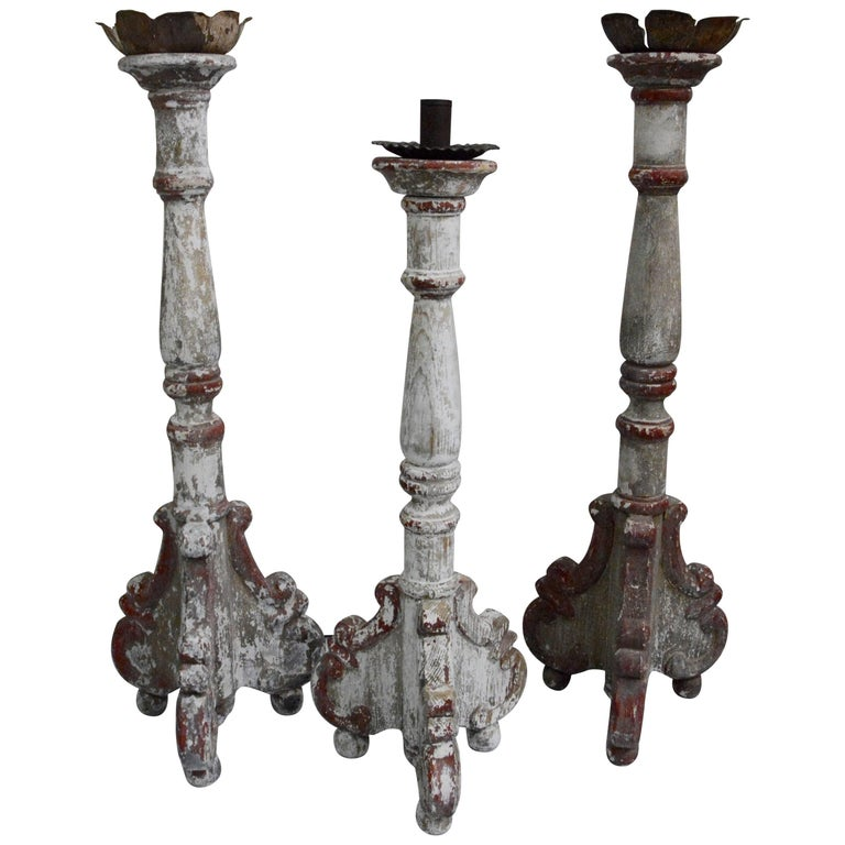 Three Large Vintage Wooden Candlesticks At 1stdibs