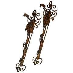 Pair of Metal Candleholder Wall Sconces with Foliate and Scrolls