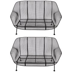 Pair of Russell Woodard Black Sculptura Settees, 1950s