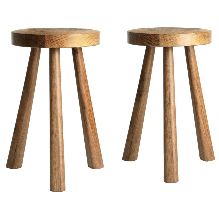 Pair of Wooden Stools by Jean Touret and the Artisans of Marolles